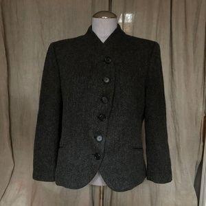 Ralph Lauren charcoal gray herringbone tweed jacke